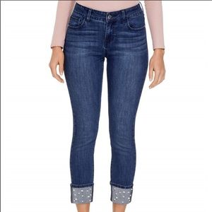 🎉PRICE FIRM🎉GUESS Betra Faux-Pearl Cuffed Jeans
